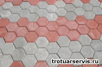 Пример укладки тротуарной плитки Соты