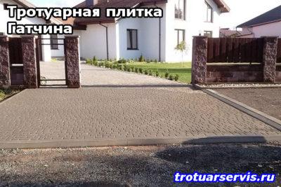 Пример укладки тротуарной плитки Кирпич в Гатчине (Гатчинский район, Ленинградская область)