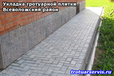 Пример укладки тротуарной плитки кирпич в городе Всеволожск
