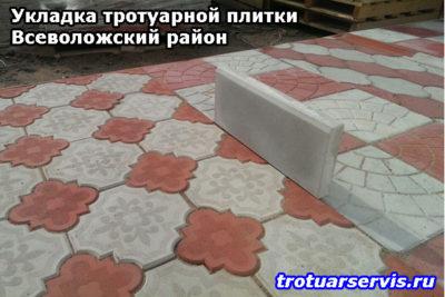 Пример укладки тротуарной плитки Клевер Краковский и Паутина в посёлке имени Морозова