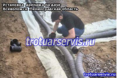 Установка дренажной системы на даче (Всеволожск, Ленинградская область)