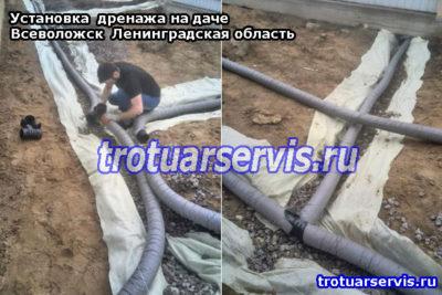 Установка системы дренажа на даче в Ленинградской области (город Всеволожск)