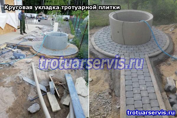 Круговая укладка тротуарной плитки: пример и фото