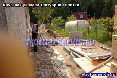 Подготовка подушки для круговой укладки тротуарной плитки Классика в Ленинградской области