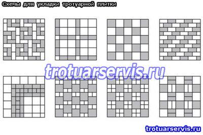 Простые схемы укладки сиспользованиембрусчатки и квадратными видами плиток