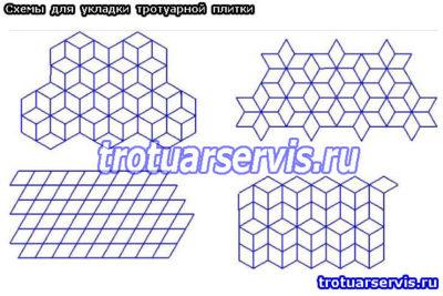 Схемы укладки с использованием тротуарной плитки ромб