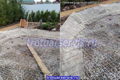 Арматурная сетка над слоем щебня для бетона
