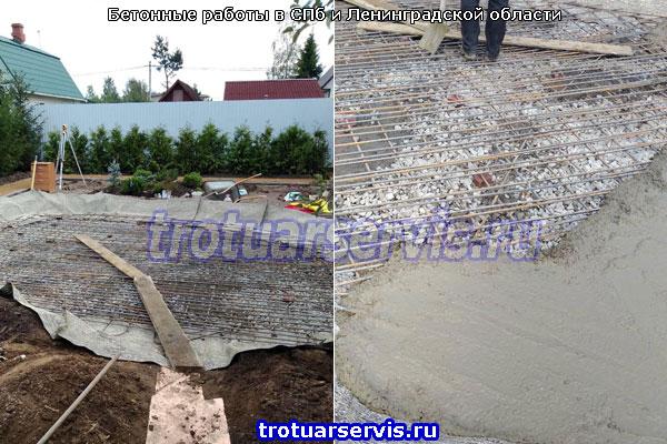 Начало заливки бетона на щебёночное основание с плетённой арматурой