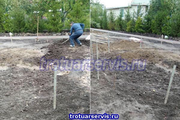 Удаление грунта перед началом бетонных работ